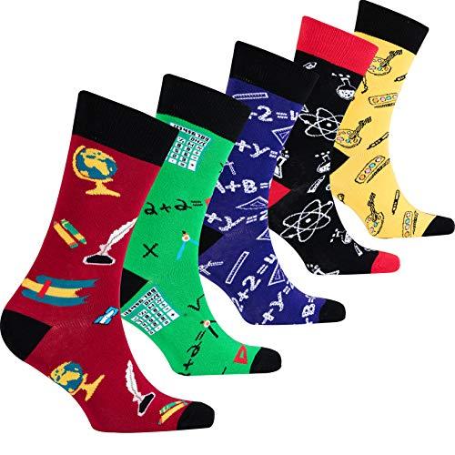 Socks n Socks-Men's 5-pair Luxury Cotton Science Funny Cool Socks Gift Box (Periodic Table Socks)