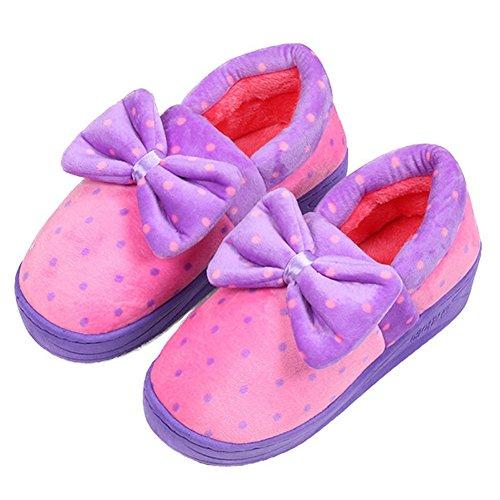 Pantofole Calde Antiscivolo Del Puntino Delle Donne Di Bowknot Del Puntino Delle Donne Porpora