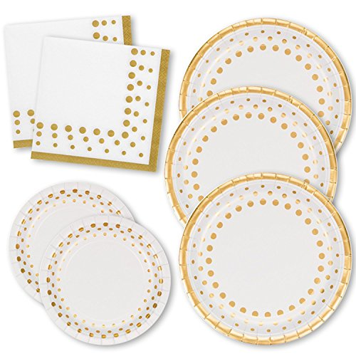 White and Gold Dot Disposable Paper Plates & Napkins Set For 50; 50 Dinner Plates 50 Dessert Plates & 100 Luncheon Napkins; For Bridal Baby Shower Wedding Anniversary Engagement Birthday Party