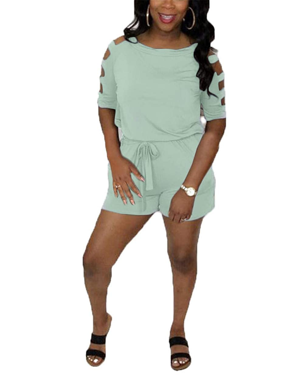 cnFaClu Womens Casual Strapless Short Sleeve Solid Color Romper Jumpsuit Shorts