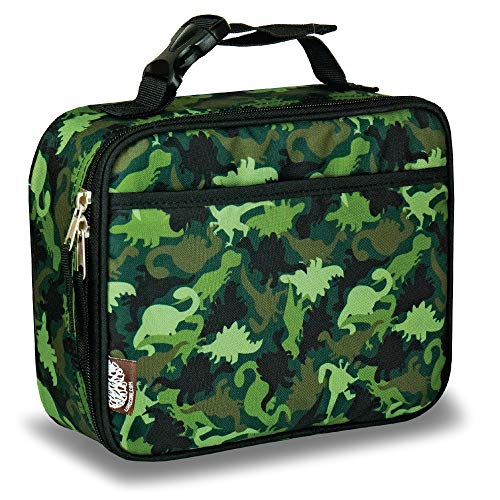 LONECONE Kids' Insulated Fabric Lunchbox - Cute Patterns for Boys and Girls, Camo-Saurus, Standard with Buckle