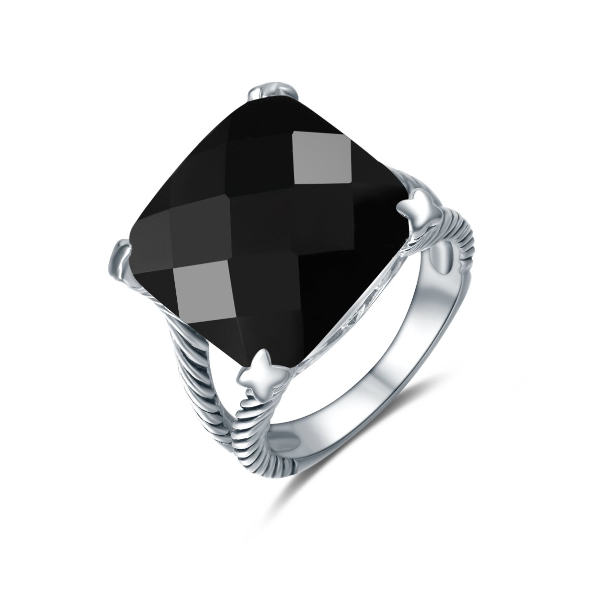 Quiges Antique Cocktail Design Silver Double Twisted Rope Solitaire Ring with Black Princess Crystal CZ 19