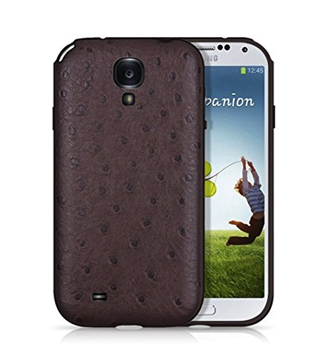 (BACKHUG Slim Better Grip Premium Leather TPU Suede 3 Step Hybrid Impact Protector Skin Case for Samsung Galaxy S4 - Black Bumper and Ostrich Brown Leather Back Collection, Made In Korea)