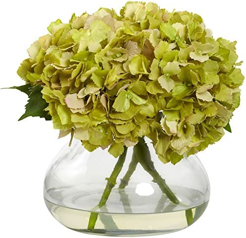 Nearly Natural 1357-GR Blooming Hydrangea with Vase, Large, Green