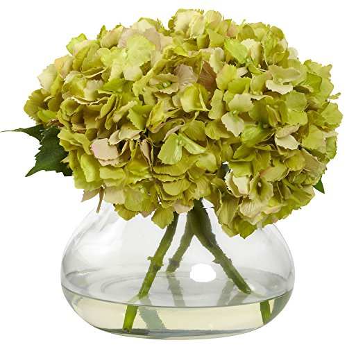 Cheap Nearly Natural 1357-GR Blooming Hydrangea with Vase, Large, Green