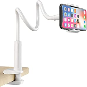 Gooseneck Cell Phone Holder, Universal 360 Flexible Phone Stand Lazy Bracket Mount Long Arms Clamp for Phone 11 Pro Xs Max XR X 8 7 6 6s Plus and Other 3.5~6.5'' Device (White)