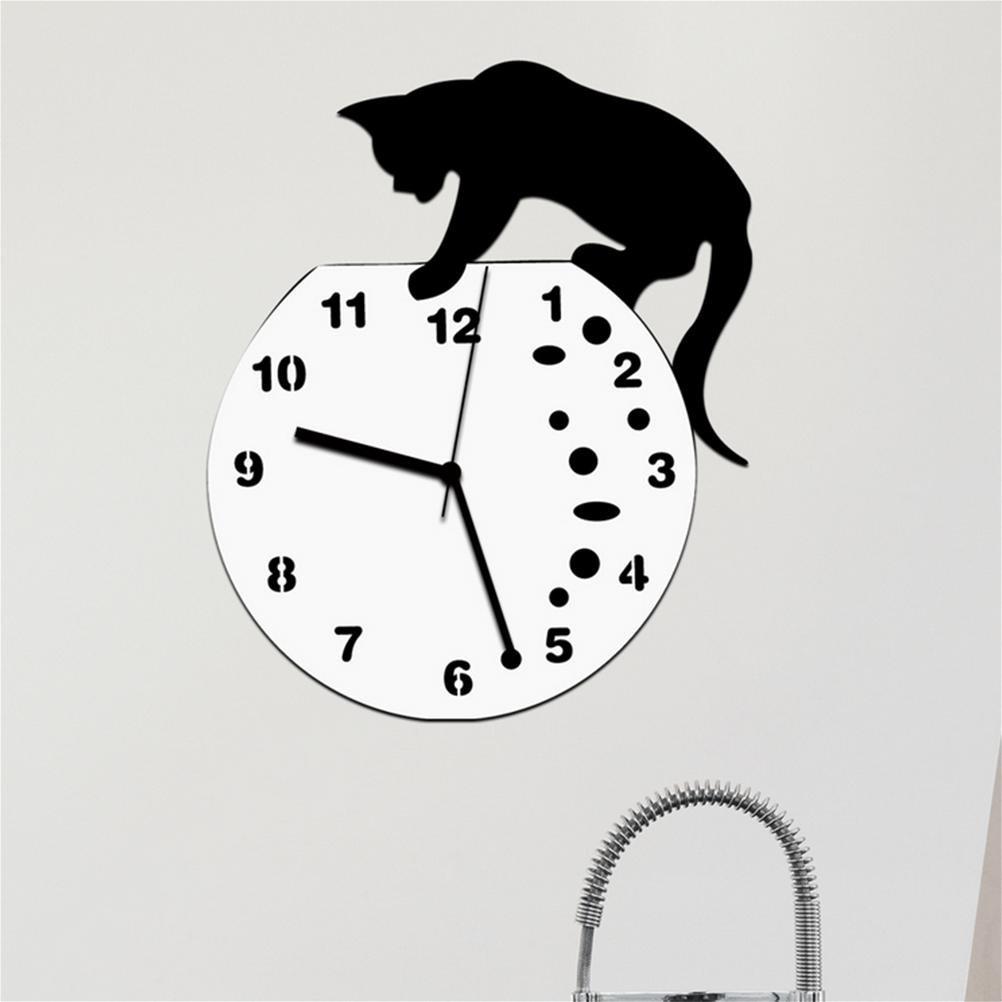 Horloge Murale en Forme de Chat Queue de Pendule Acrylique Ultra-Silencieux Wobbling Chambre Salon Cuisine Bureau D/écor
