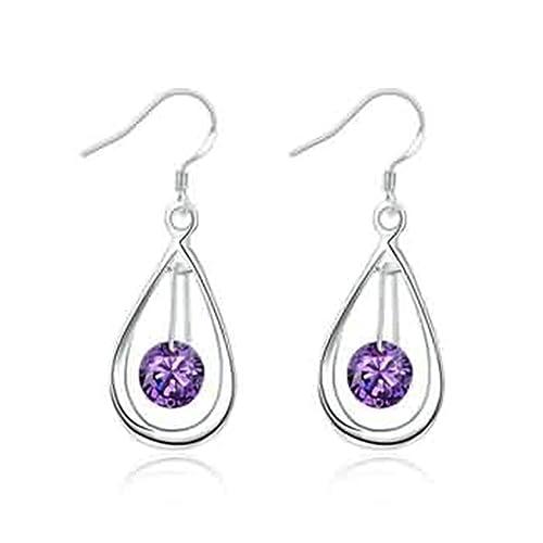 976548a7dd85 KNSAM - Pendientes Mujer Abierto Lágrima Púrpura Aleación Cristal Aretes para  Novias  Amazon.es  Joyería