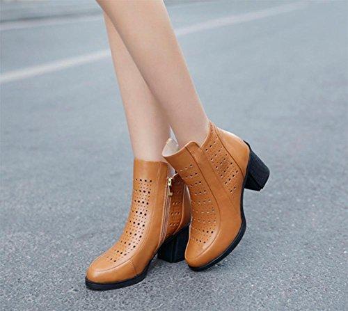 la hacia remache botas botas Calzado Sra de Sra solteras primavera botas apricot gruesas yellow de tacón las ahuecan alto fuera mujeres FSwAXqxw