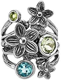 ♥925 Sterling Silver and Gemstone Floral Ring