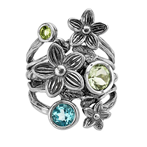 Paz Creations ♥925 Sterling Silver and Gemstone Floral Ring (6), Made in Israel ()