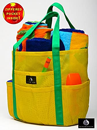 Mesh Family Beach Tote - Yellow Whale Bag w orange carabiner hook ...