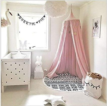Baby Kid Bed Hanging Chiffon Ball Canopy Pom Pom Mosquito Net Nursery Room Decor