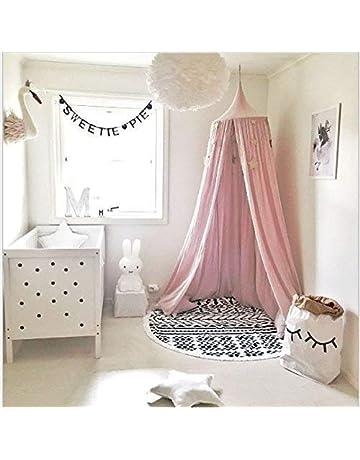 Domo redondo para habitación de niños, decoración de guardería, red de algodón, mosquitera