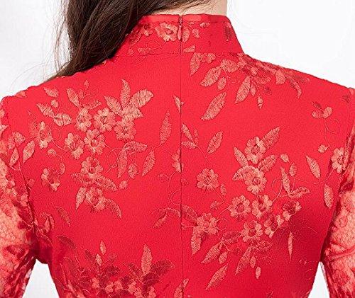 Robe Chinese Sleeve Short Side Red Qipao Dress Lace Slit Womens Jaycargogo tqYwxpOY