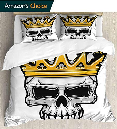 (King Queen Size 3pcs Duvet Cover Sets,Hand Drawn Crowned Skull Cranium with Coronet Tiara Halloween Themed Image Kids Bedding - Double Brushed Microfiber 87
