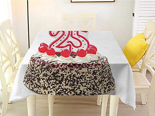 L'sWOW Square Tablecloth Stripe 25th Birthday Number Candles Twenty Five on Chocolate Cherry Cake Yummy Artwork Print Red Cream Brown Chairs 60 x 60 Inch