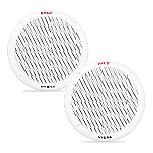 6.5 Inch Dual Marine Speakers - 2 Way Waterproof and Weather Resistant Outdoor Audio Stereo Sound System with 400 Watt Power, Polypropylene Cone and Butyl Rubber Surround - 1 Pair - PLMR605W (White)