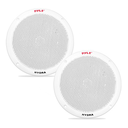 6.5 Inch Dual Marine Speakers - 2 Way Waterproof and Weather Resistant Outdoor Audio Stereo Sound System with 400 Watt Power, Polypropylene Cone and Butyl Rubber Surround - 1 Pair (Pyle Marine Speaker)