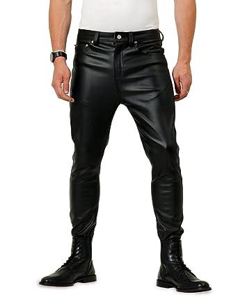 Bockle® F-Skinny Stretch Schwarze Herren Kunstleder Hose Lederhose  Lederjeans, Size  W30 63ba7eff47