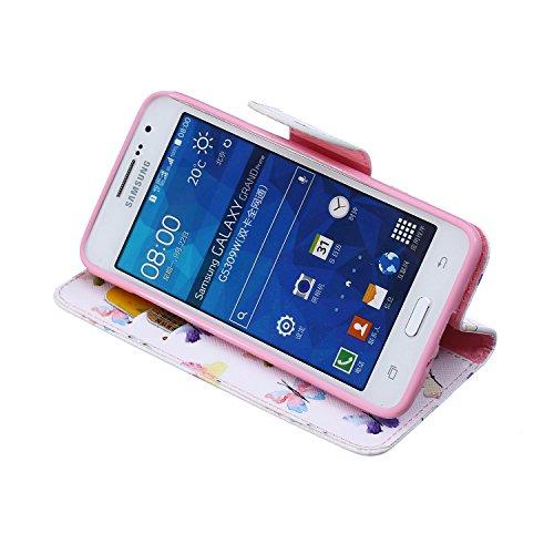 Funda Samsung Grand Prime G530, Samsung Galaxy Grand Prime G530 Carcasa Funda Cuero [Pluma Libre] Samsung Galaxy Grand Prime G530 Case Book Estilo Libro billetera con correa de cordón Magnético Folio  Multi mariposas