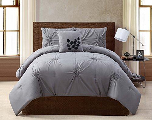 VCNY London 4-Piece Comforter Set, Queen, Gray ()