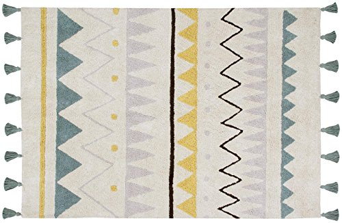 Lorena Canals Azteca Natural, Pink/Yellow/Light Purple, 4' x 5' 3'' by Lorena Canals
