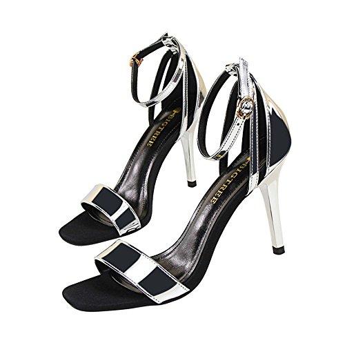 z&dw Moda simple y delgado tacones altos una palabra con sandalias profesionales ol plata