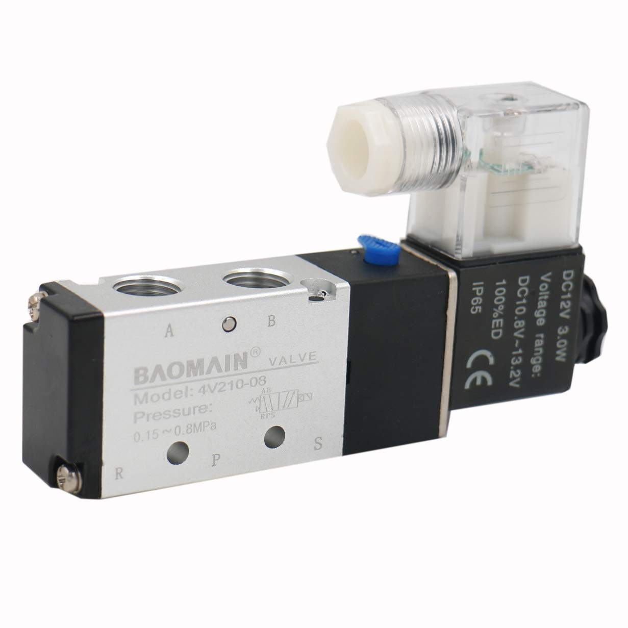 Baomain Pneumatic Air Control Solenoid Valve 4V210-08 DC 12V 5 Way 2 Position PT1/4 Internally Piloted Acting Type Single Electrical Control by Baomain