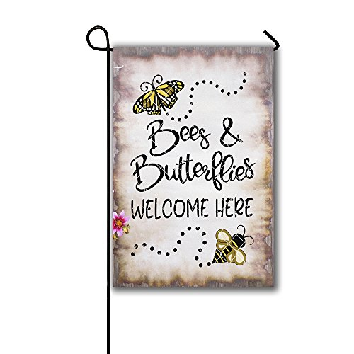 Artswow Bees & Butterflies Were Here Garden Flag Holiday Decoration Double-sided Polyester Personalized Yard Flag 12