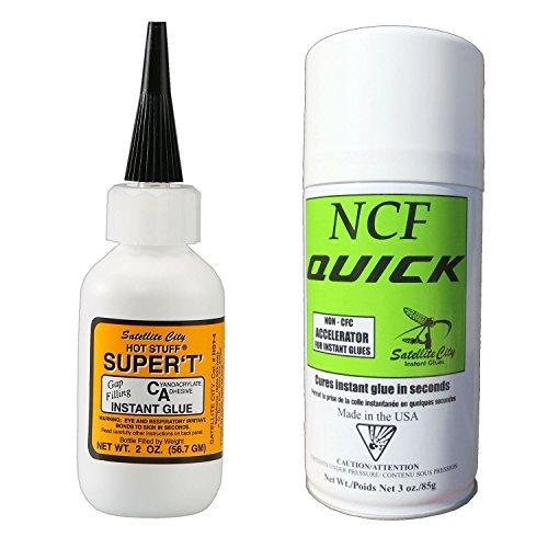 Hot Stuff-Hot Stuff Super T Medium CA Glue (2oz) & NCF Quick Aerosol Accelerator (6oz) ()