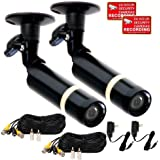VideoSecu 2 Pack Security Cameras Built-in SONY CCD Outdoor Bullet Wide Angle Lens for Home CCTV DVR Surveillance with Power Supplies and Extension Cables CMC