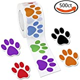 Colorful Paw Print Stickers, 1 Roll 500 Dog Paw Labels Stickers by JPSOR, 6 Colors(Red, Orange, Green, Blue, Purple, Black)
