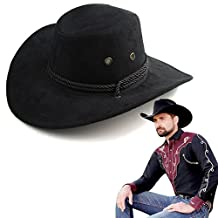 Men's Boys Western Cowboy Outback Hat with Drawstring Fancy Dress Party Accessory