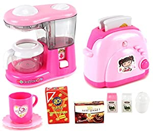 Hello Candy Kitchen Mini Household Pretend Play Toy Kitchen Appliances Play  Set W/ Toaster, Coffee Machine, Accessories