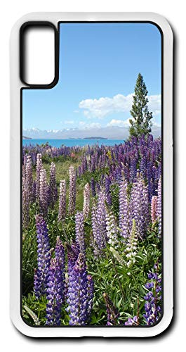 iPhone X Case Mountain Lake Wildflowers Vegetation Violet Blossom Blooming Customizable by TYD Designs in White Plastic
