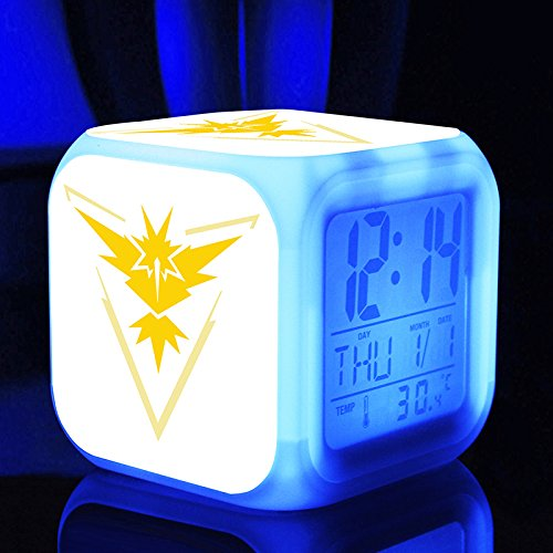 New POKEMON GO Cartoon Video Games Action Figure 7 Colors Change Digital Alarm LED Clock Cartoon Night Colorful Toys for Kids (Style 2)