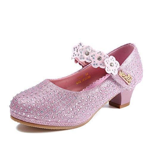 HBOS Prinzessin Schuhe Partei mit Blume Klettverschluss Kristallschuhe Princess Shoes Rosa 1
