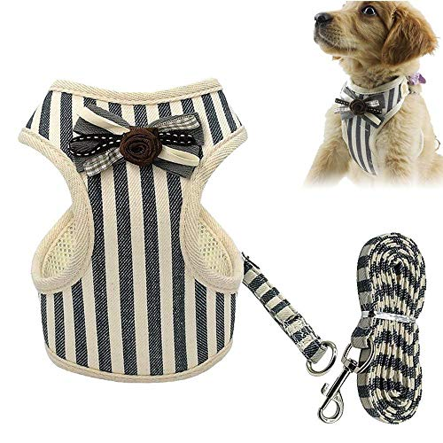 (KOBWA Small Dog Harness and Leash Set, Adjustable Pet Dog Harness Vest with Mesh Pad, Stripe Dog Harness with Cute Flower Bow Tie for Small Medium Dogs)