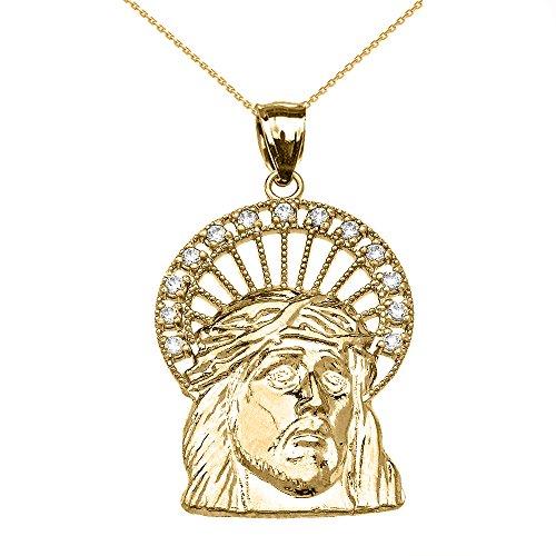 Collier Femme Pendentif 10 Ct Or Jaune Diamant Jésus Visage (Livré avec une 45cm Chaîne)