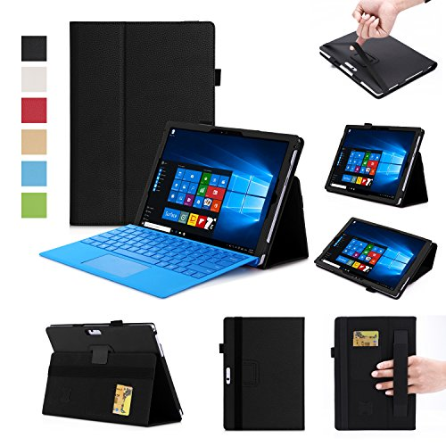 Microsoft New Surface Pro 2017 / Pro 3 / Pro 4 12.3 Inch Case-Premium PU with Hand Strap, Card Slots,Ultra Slim Magnetic Smart Cover Case (Black)
