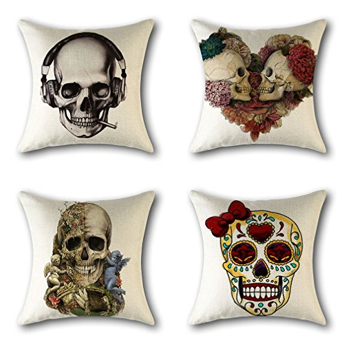 (PSDWETS Halloween Decorations Cute Skull Pillow Covers Set of 4 Home Decor Cotton Linen Throw Pillow Covers Cushion Cover 18 X)