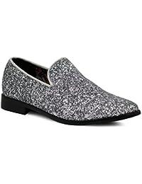 SPK04 Men's Vintage Glitter Dress Loafers Slip On Shoes Classic Tuxedo Dress Shoes