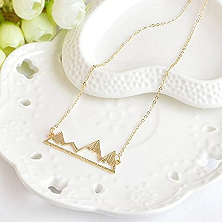 Gold Greendou Fashion Jewelry Triangle Mountain Peak Pendant Travel Necklace for Women and Girls,18 with 2 Extend