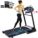 ANCHEER 3.25HP Folding Treadmill, Electric Automatic Incline Treadmill, Easy Assembly Fitness Motorized Running Jogging Machine with APP Control