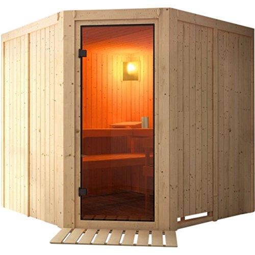 Karibu Bio-Sauna VERONA 1,96 x 1,96 cm SPARSET mit 9 kW Ofen + 9tlg. Zubehörpaket Saunaleuchte Saunaset Sanduhr Bodenrost Anschlusskabel BIO-KOMBIOFEN externe Steuerung mit 20 kg Saunasteine Elementsauna Systemsauna