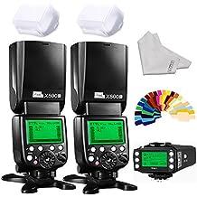 Pixel X800C pro Wireless DSLR Camera Flash Speedlite 2 Piece Plus KING/KING PRO Radio Transmitter for Canon DSLR Cameras With high-speed sync 1/8000s ETTL FSK2.4GHz