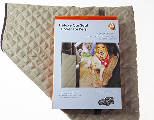 Tan  Brown Adog Deluxe Quilted Dog Car Back Seat Cover, Tan Brown