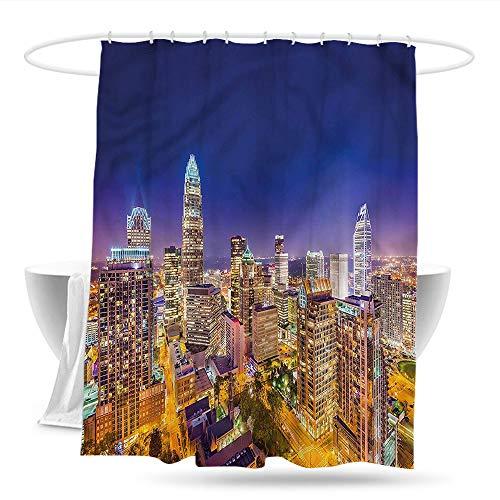 haniu Kids Bathroom Shower Curtain Modern Panoramic Uptown Sky Night Bathroom Curtain Washable Polyester W59×L70