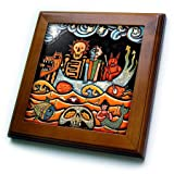3dRose LLC ft_21127_1 The Devil Dream Folk Art Skulls Mexican Colorful Surrealism, 8 by 8-Inch